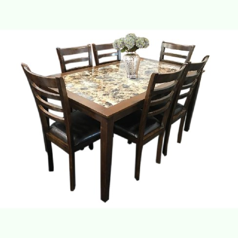 mission 7-piece marble top dining